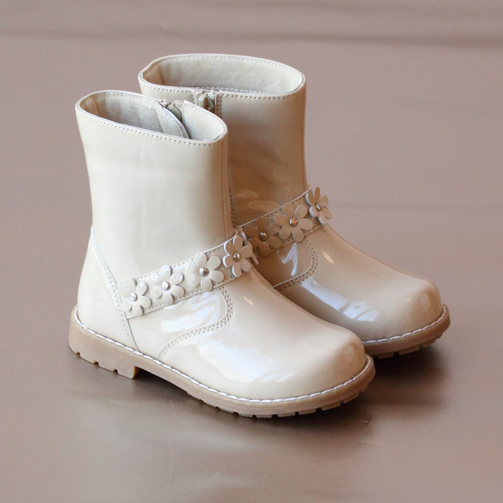 L'Amour Girls Cream Flower Power Boot