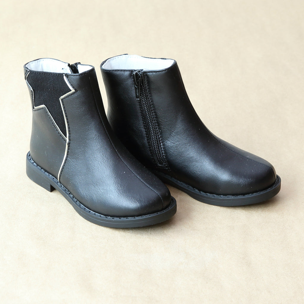L'Amour Girls Black Matte Leather Star Boot - Petitfoot.com