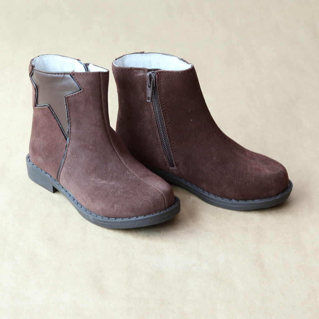 L'Amour Girls Brown Suede Leather Star Boot - Petitfoot.com