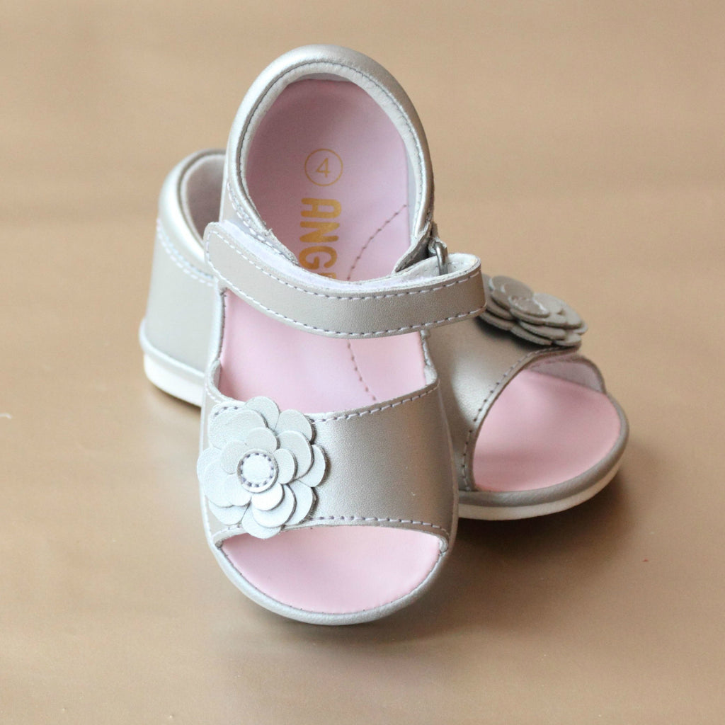 Angel Baby Girls Silver Open Toe Leather Flower Sandal