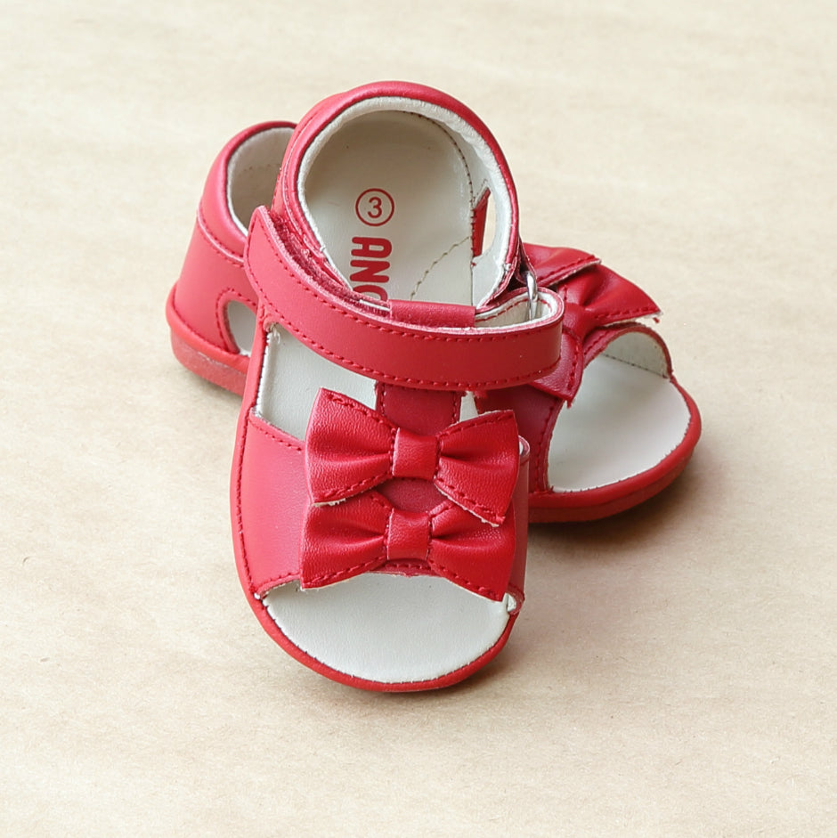 Angel Baby Girls Red Double Bow Sandal - Petitfoot.com