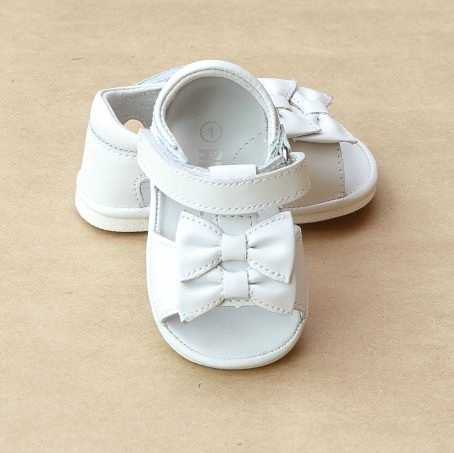 Angel Baby Girls White Double Bow Sandal - Petitfoot.com