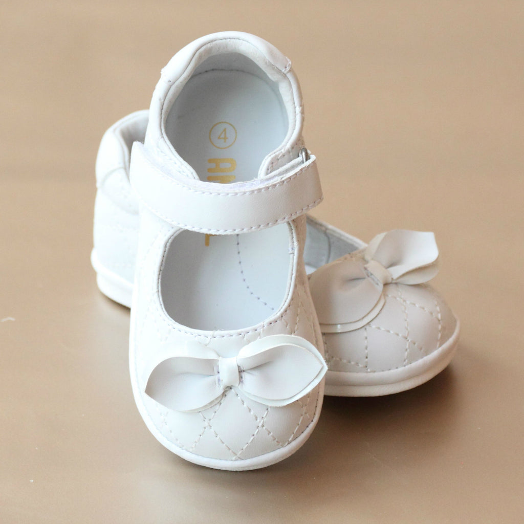 Angel Baby Girls White Quilted Leather Jane