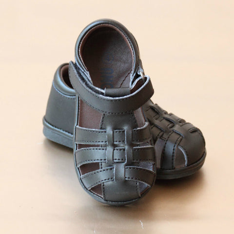 Angel Baby Boys Leather Lattice Fisherman Sandal