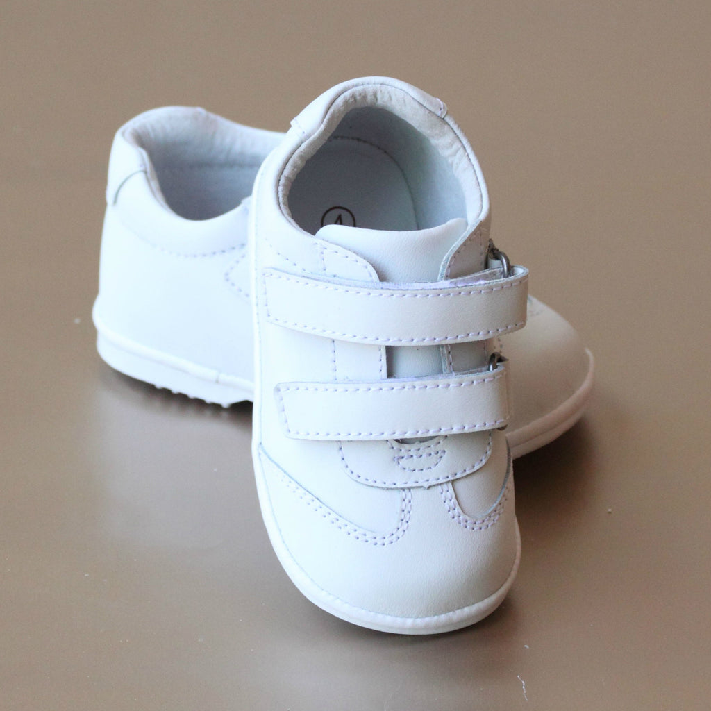 Angel Baby Boys White Double Strap Sporty Leather Sneaker