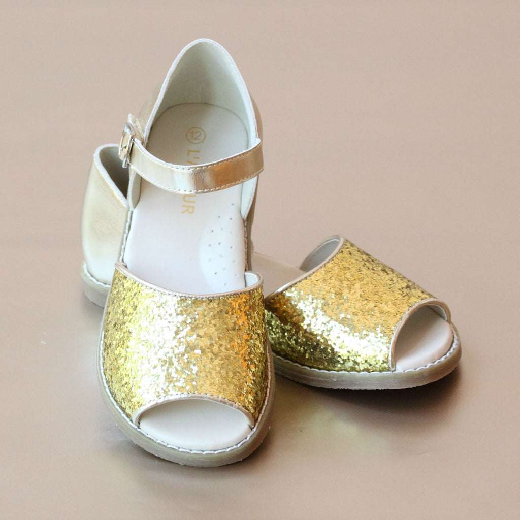L'Amour Girls Open Toe Gold Sparkle Sandal