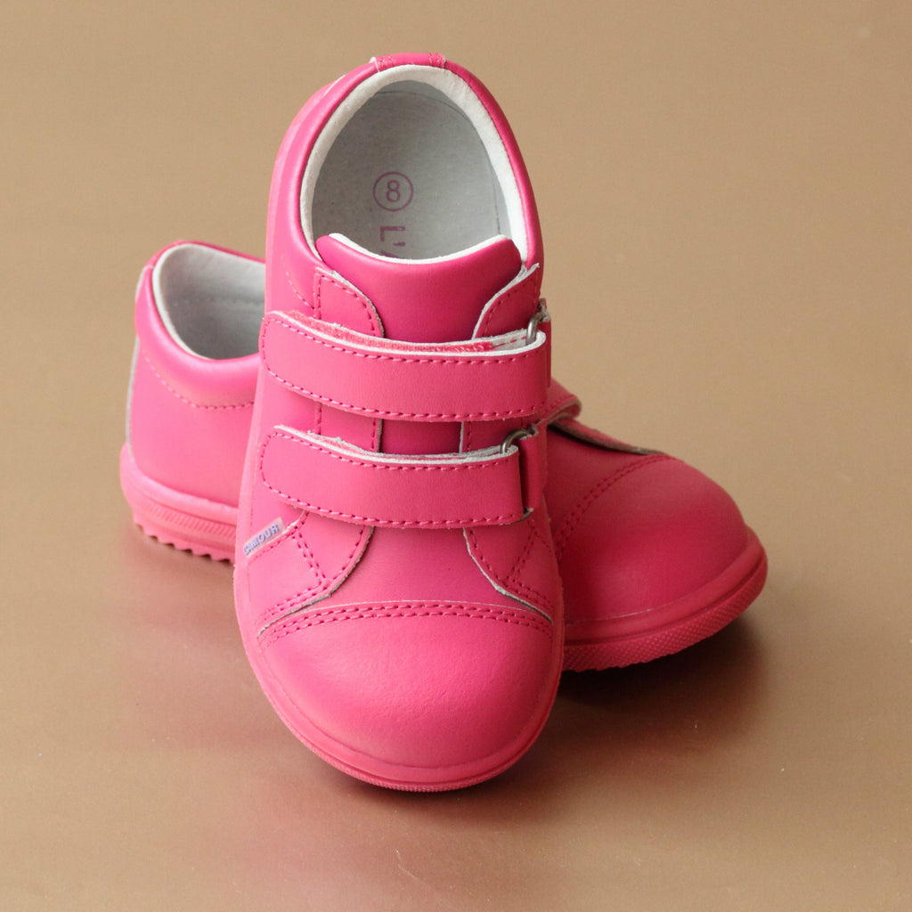 L'Amour Girls Fuchsia Double Strap Fashion Sneaker