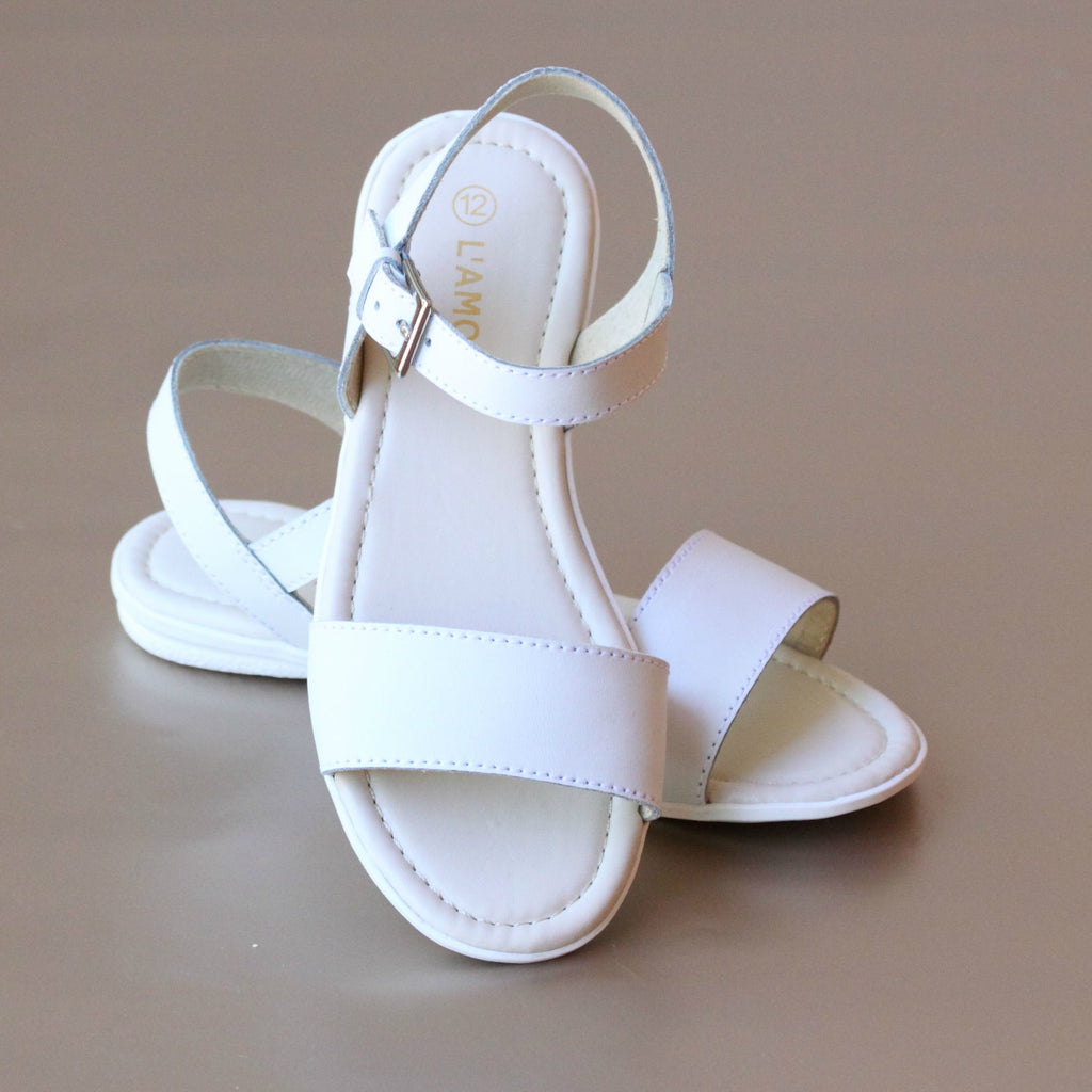 L'Amour Girls White Open Toe Flat Sandal