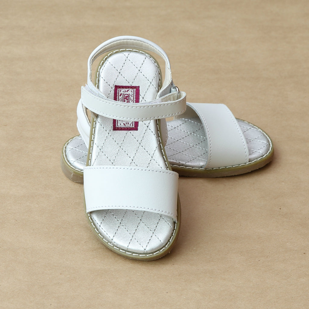 L'Amour Girls Solid White Open Toe Flat Sandal - Petitfoot.com