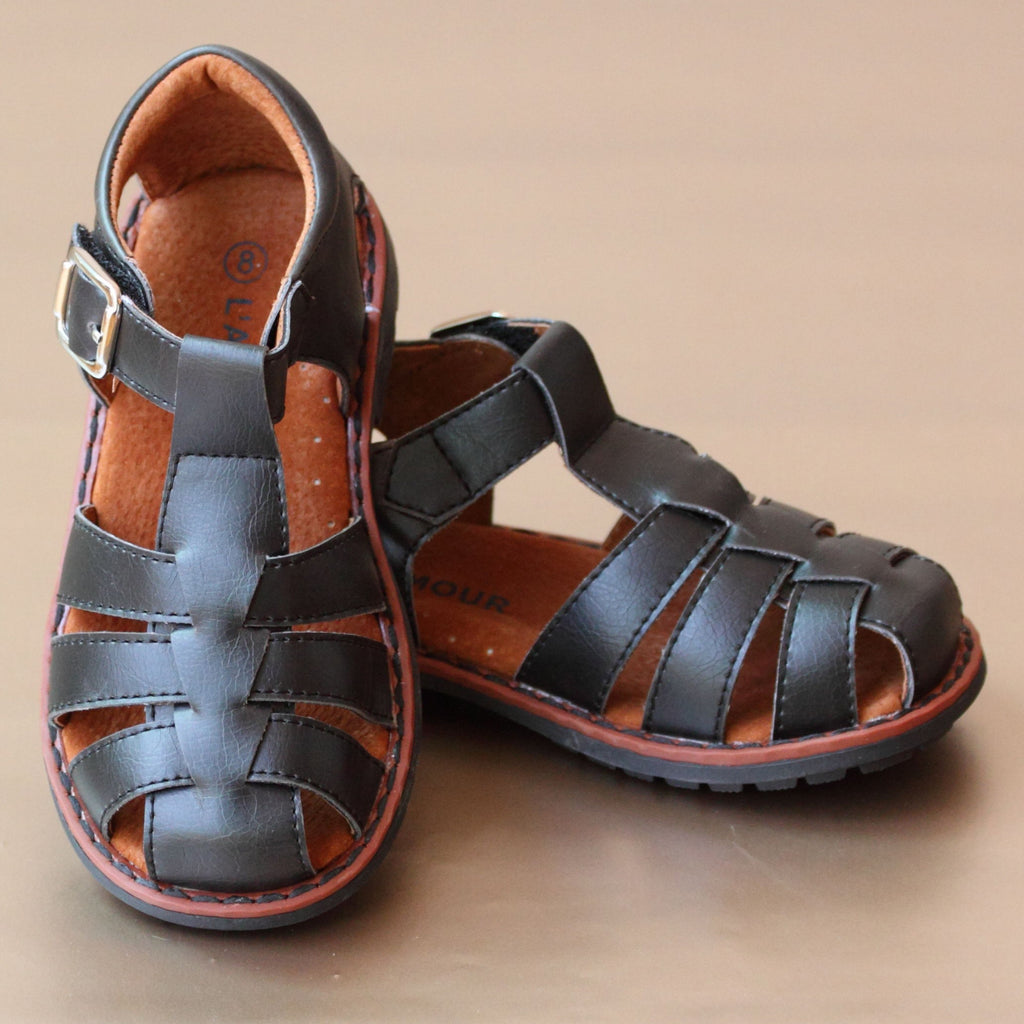 L'Amour Boys Black Leather Fisherman Sandal