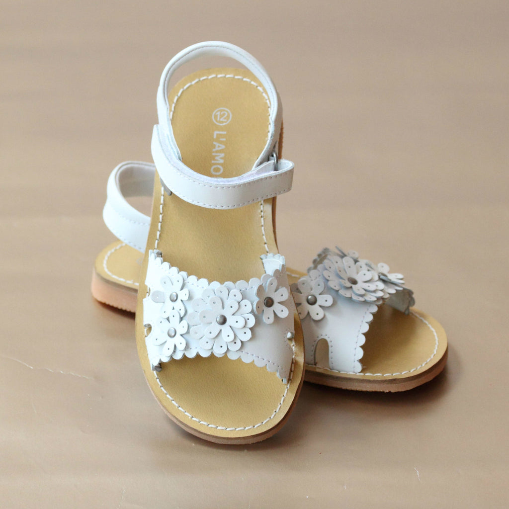 L'Amour Girls White Scalloped Flower Blossom Sandal