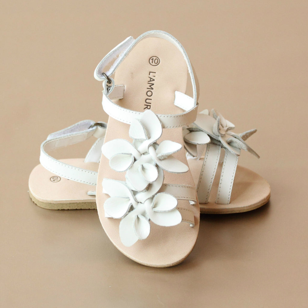 L'Amour Girls White Bloom Leather Sandal