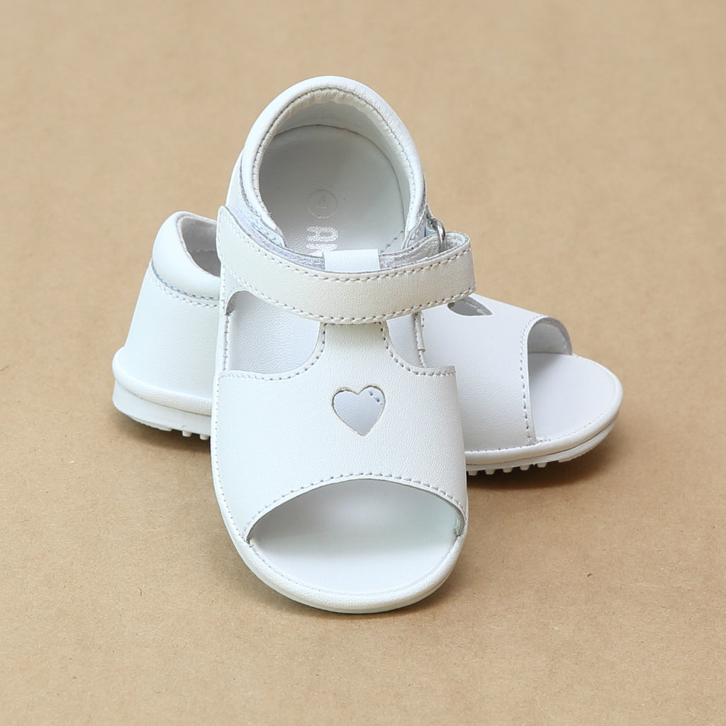 Angel Baby Girls White Open Toe and Heart Leather Sandal - Petitfoot.com