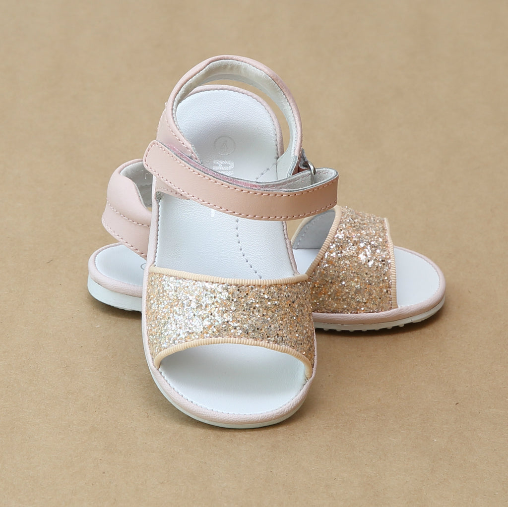 Angel Baby Girls Elise Pink Glitter Open Toe Sandal - Petitfoot.com