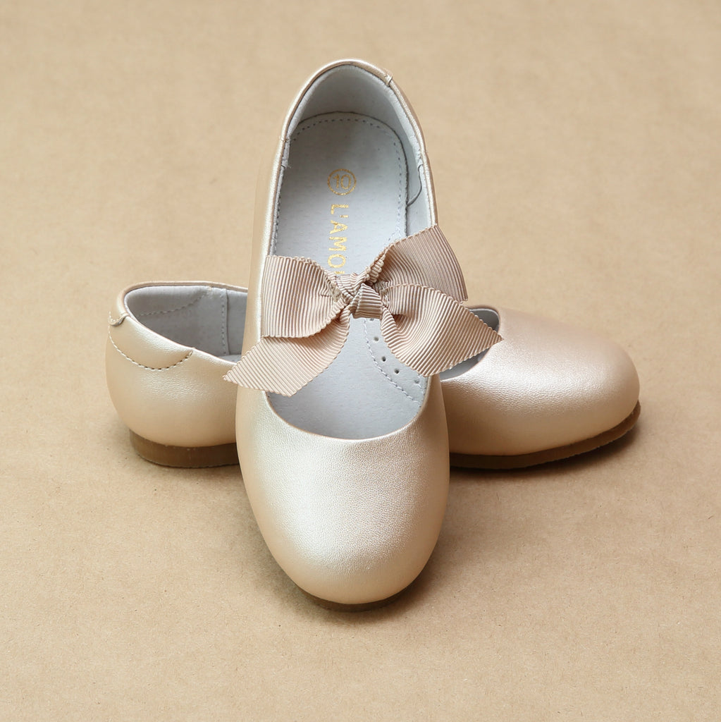 L'Amour Girls Pauline Champagne Bow Leather Dressy Flat - Petitfoot.com