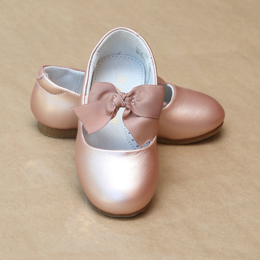 L'Amour Girls Pauline Pink Gold Bow Leather Dressy Flat - Petitfoot.com