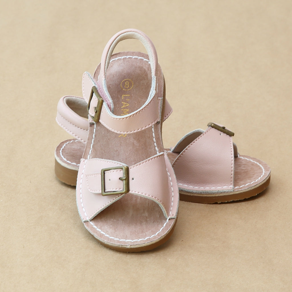 L'Amour Girls Olivia Pink Stitch Down Buckled Strap Sandal - Petitfoot.com