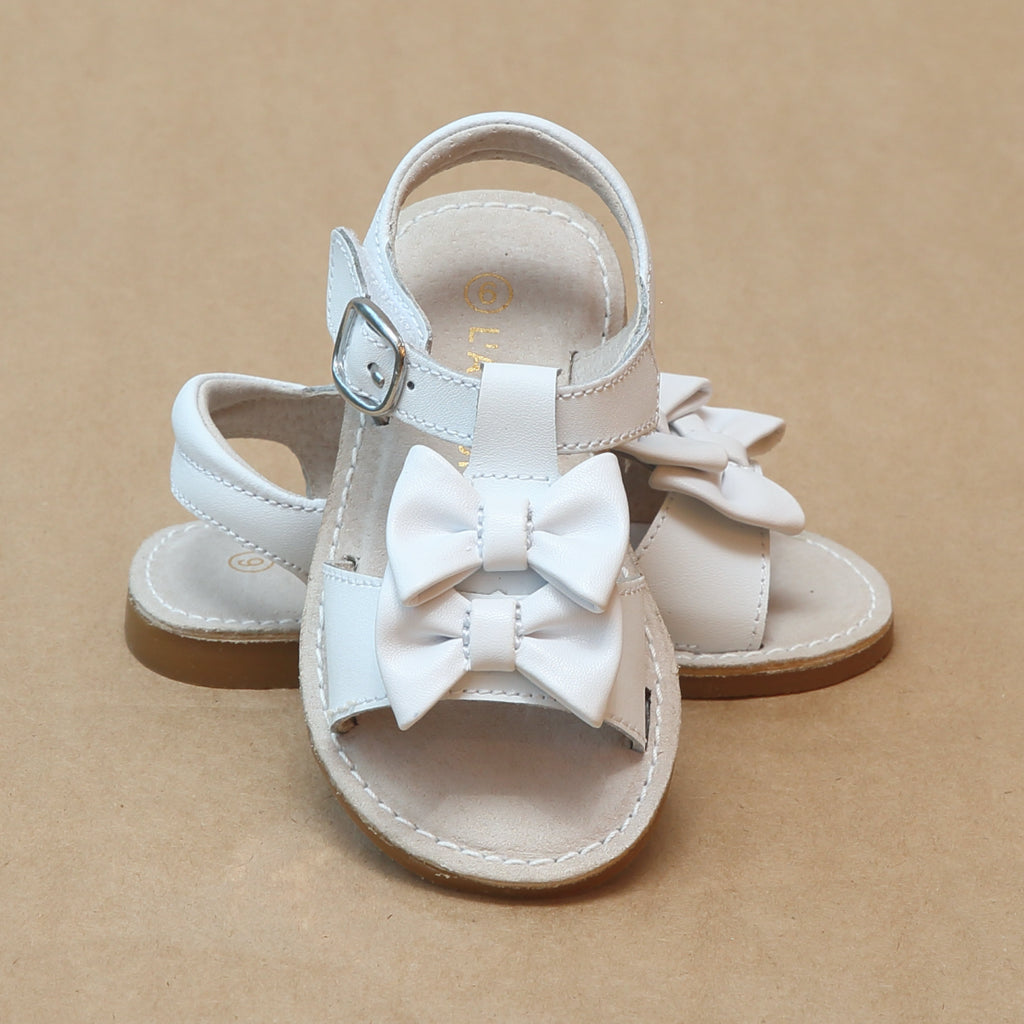 L'Amour Girls Serena White Double Bow Open Toe Leather Sandal - Petitfoot.com