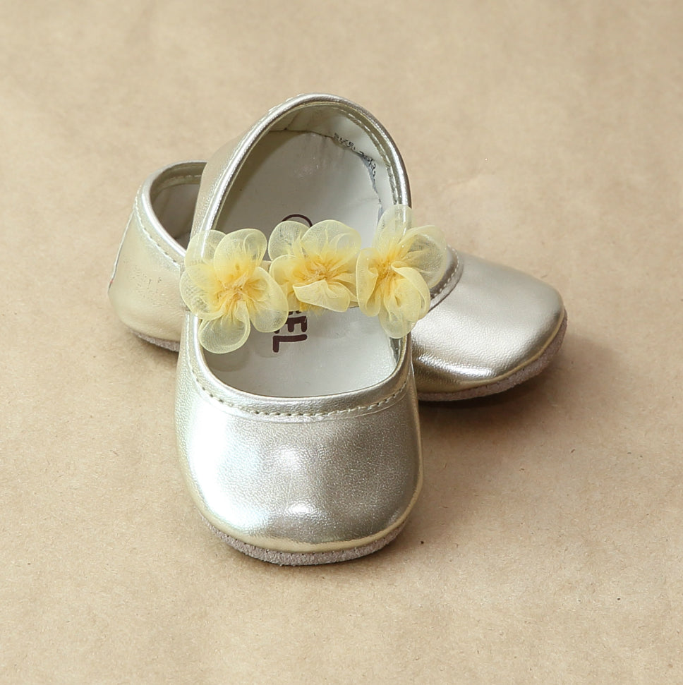 L'Amour Baby Girls Gold Organza Flower Mary Jane - Petitfoot.com