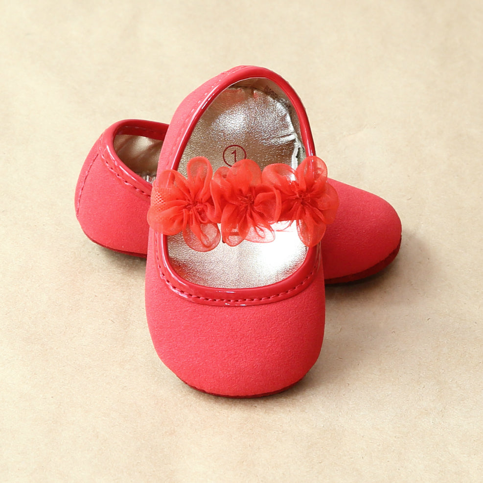 L'Amour Baby Girls Red Organza Flower Mary Jane - Petitfoot.com