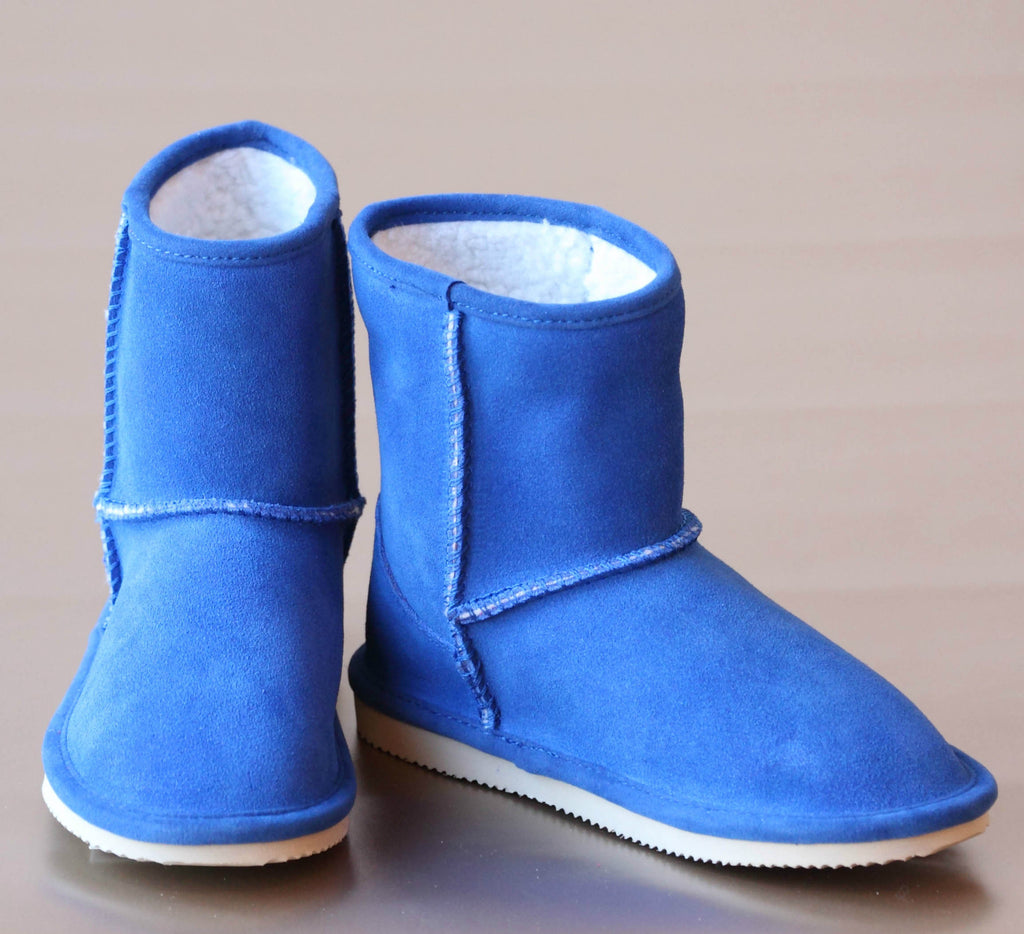 L'Amour Girls Blue Faux Shearling Boot