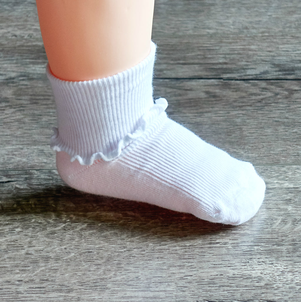 Baby Girls Ruffle Trim Ankle Dress Socks - Petit Foot