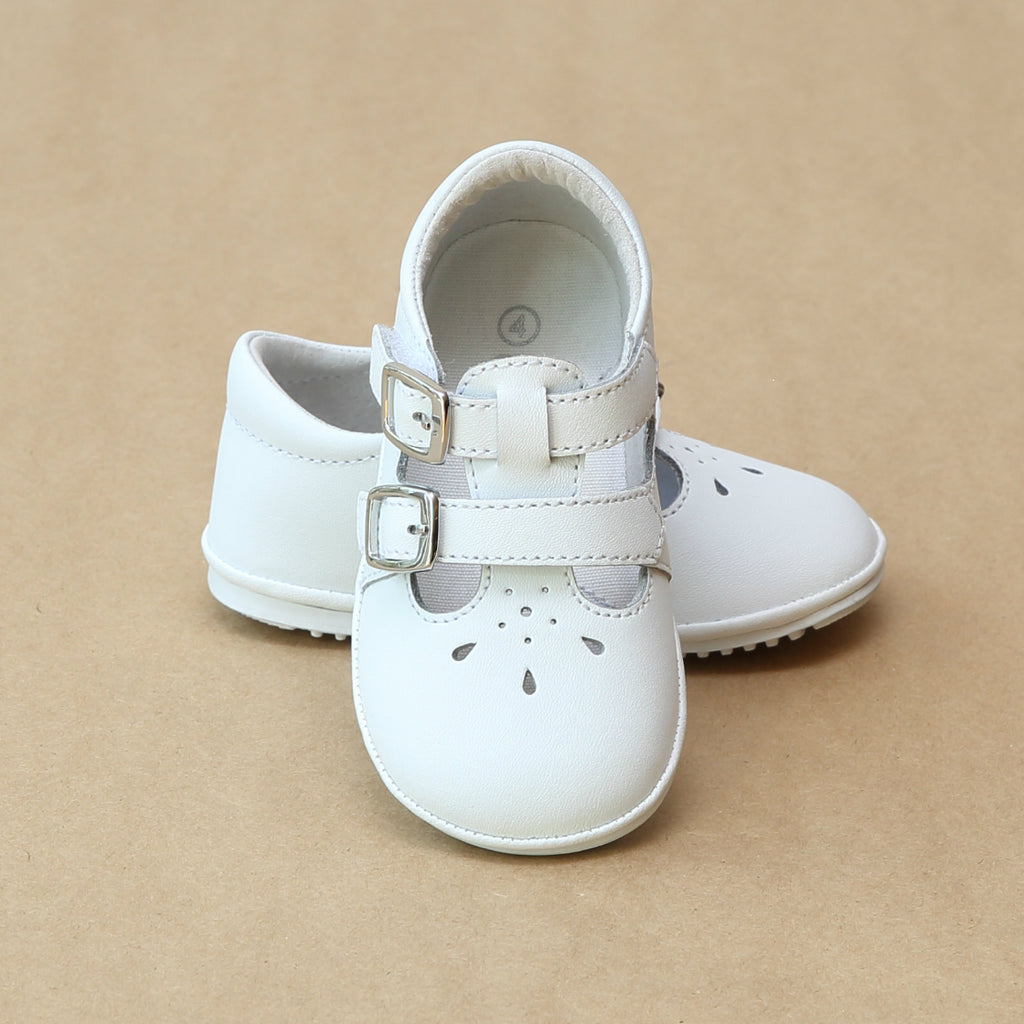 Angel Baby Girls Double Buckle White Mary Janes - Petit Foot