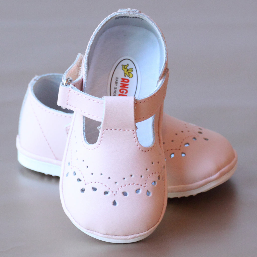 Angel Baby Girls T-Strap Ecru Leather Mary Janes