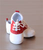 Angel Baby Boys White/Red Leather Lace Up Saddle Oxford Shoe
