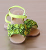 L'Amour Girls Lime Rosette Applique Sandal