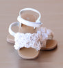 L'Amour Girls White Rosette Applique Sandal