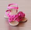 L'Amour Girls Fuchsia Rosette Applique Sandal