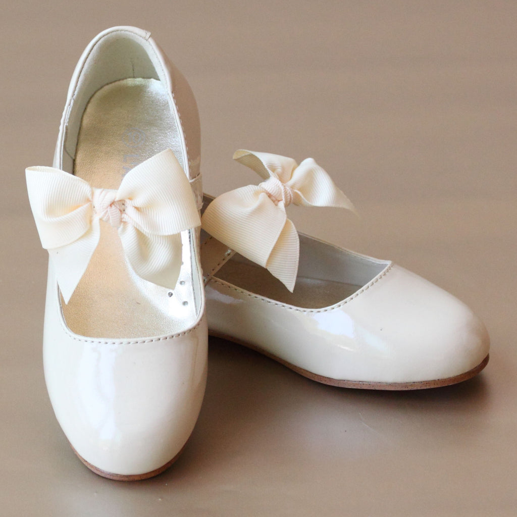 L'Amour Girls Bow on Strap Patent Cream Flat