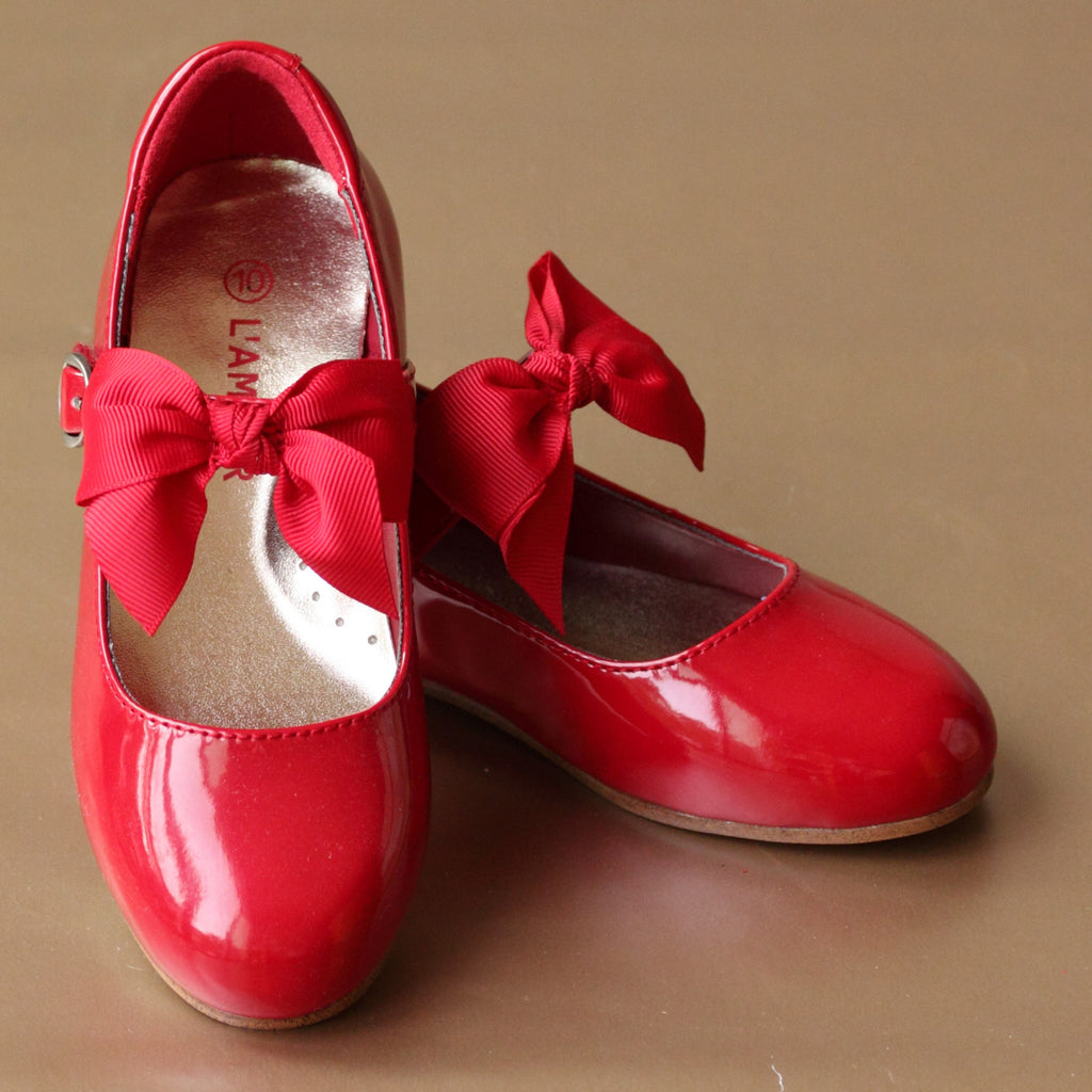 L'Amour Girls Bow on Strap Patent Red Flat