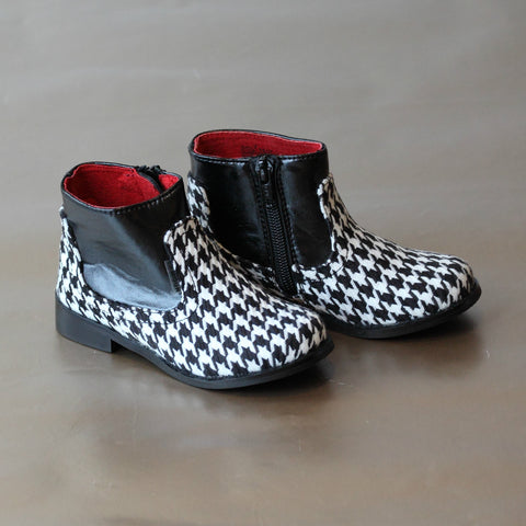 FINAL SALE - L'Amour Girls Houndstooth Ankle Boot