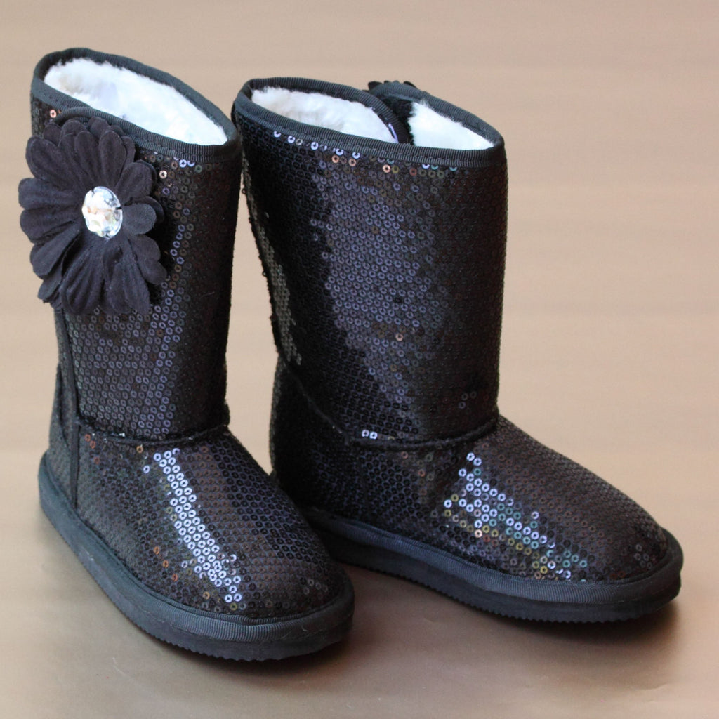 L'Amour Girls Black Sparkle Sequin Boot
