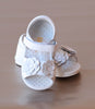 Angel Baby Girls White Double Flower Applique Sandal