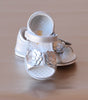 Angel Baby Girls Silver Double Flower Applique Sandal