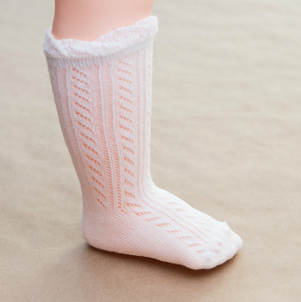 Baby Girls White Crochet Knee Socks - Petitfoot.com