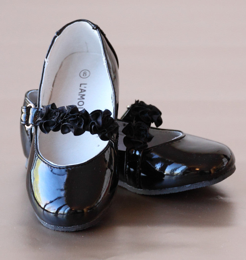L'Amour Patent Black Leather Flower Girl Flats