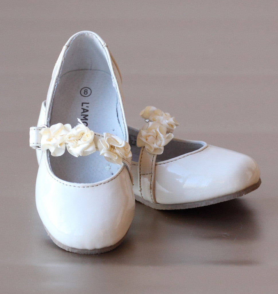 L'Amour Patent Cream Flower Girl Flats with Flower Appliques