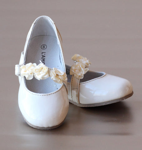 FINAL SALE - L'Amour Patent Cream Flower Girl Flats with Flower Appliques