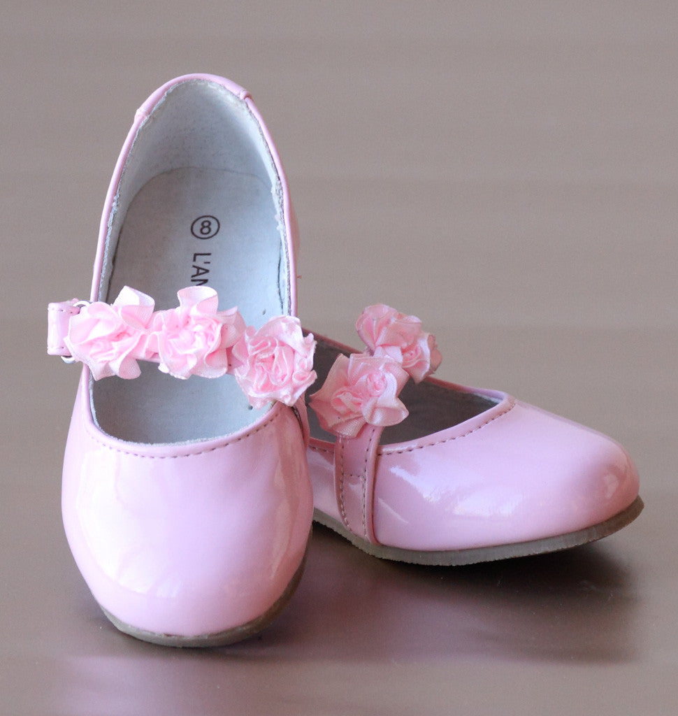 L'Amour Patent Pink Flower Girl Flats with Flower Appliques at Strap
