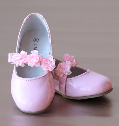 L'Amour Patent Pink Flower Girl Flats with Flower Appliques