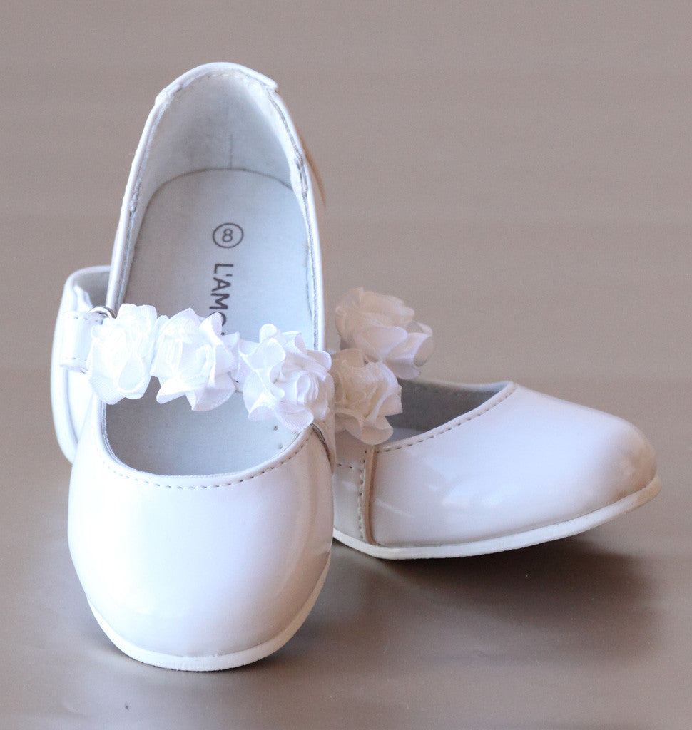 L'Amour Patent White Leather Flower Girl Flats