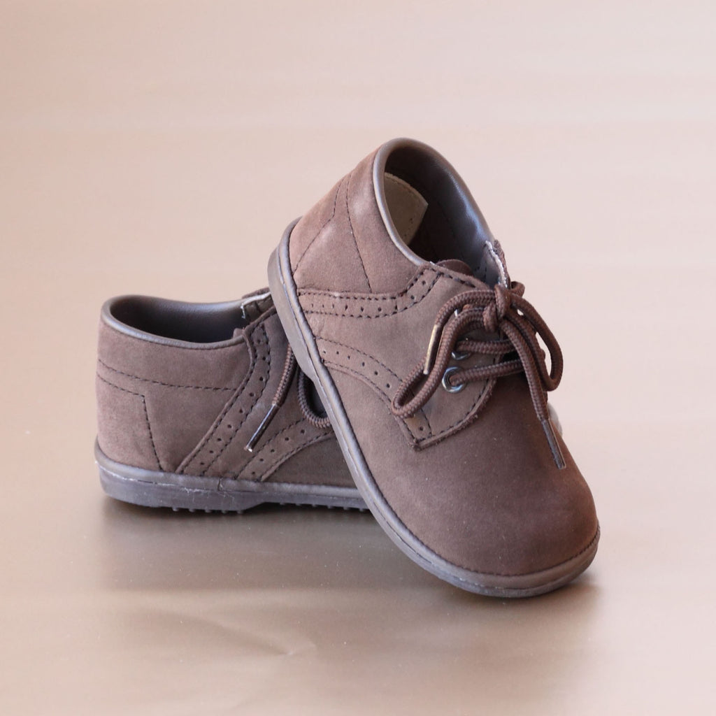 Angel Baby Boys Nubuck Brown Classic Leather Lace Ups