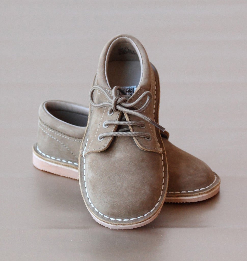 L'Amour Boys Nubuck Khaki Leather Lace Up Shoes