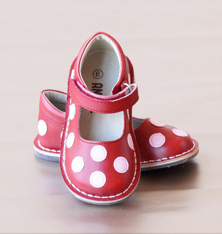 Angel Baby Girls Leather Polka Dot Mary Jane