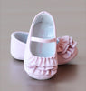 L'Amour Infant Girls Pink Ruffle Mary Jane Crib Shoe