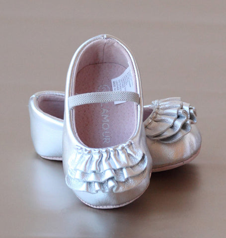 FINAL SALE - L'Amour Infant Girls Ruffle Mary Jane Crib Shoe